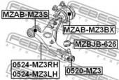 FEBEST MZAB-MZ3BX Сайлентблок задний переднего рычага без кронштейна
