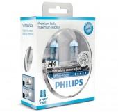 Philips WhiteVision H4 12V 60/55W Автолампа галоген, 2шт