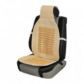 Vitol CN 12507 Накидка на сиденье солома+косточки, бежевая 1шт