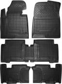 Avto-gumm Коврики в салон для Hyundai Santa-Fe Grand '14- 7мест, резиновые черные