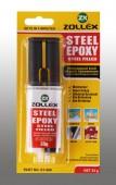 Zollex Эпоксидный клей 2-х компонентный с наполнителем из стали, в шприце
