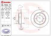 Brembo 08.7042.10 Тормозной диск, 1шт