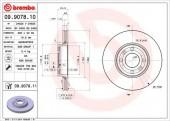 BREMBO 09.9078.10 Тормозной диск, 1шт