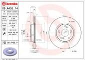 BREMBO 09.A455.14 Тормозной диск, 1шт