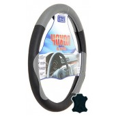 Vitol Чехол для руля кожаный 09NR602 E, черный/серый