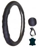 Vitol VLA312 BK Чехол для руля кожаный чёрный / синяя нитка, L 39-40 см