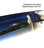 HIC Дефлекторы окон  Peugeot 308 2007 ->, Хетчбек-> на скотч, черные 4шт