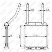 Nrf 58147 Радиатор отопителя 26мм с трубками