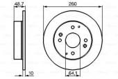 Bosch 0 986 478 172 Тормозной диск задний HONDA Accord; ROVER 620/623 93- (260*10)