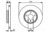 BOSCH 0 986 479 467 Тормозной диск передний AUDI A4 07-. A5