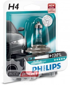 ���� 1 - Philips X-tremeVision H4 12V 60/55W ��������� �������, 1��