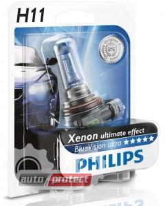 Фото 1 - Philips BlueVision Ultra H11 12V 55W Автолампа галоген, 1шт