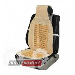 Фото 1 - Vitol CN 12507 Накидка на сиденье солома+косточки, бежевая 1шт