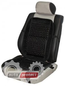 Фото 1 - Vitol CN 12530Bk Накидка на сиденье велюр+косточки черная, 1шт