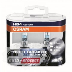 Фото 2 - Osram Night Breaker Unlimited HB4 12V 51W Автолампа галогенная, 2шт