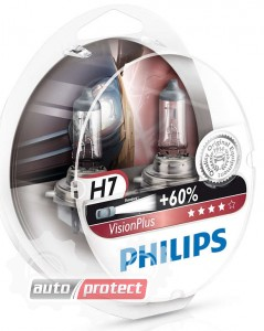 Фото 2 - Philips VisionPlus H7 12V 55W Автолампа галоген, 2шт 1
