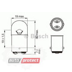 Фото 1 - Bosch Pure Light R5W 12V 5W Автолампа, 2шт