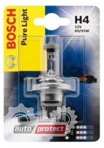Фото 1 - Bosch Pure Light H4 12V 60/55W Автолампа галогенная, 1шт