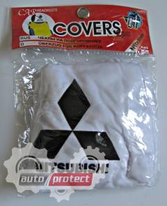 Фото 2 - Autoprotect Чехлы на подголовники MITSUBISHI, белые 2