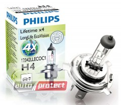 ���� 1 - Philips LongLife EcoVision H4 12V 60/55W ��������� �������, 1�� 1