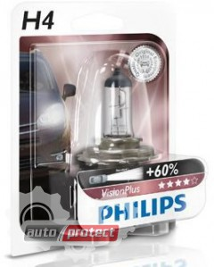 Фото 2 - Philips VisionPlus H4 12V 60/55W Автолампа галоген, 1шт 1