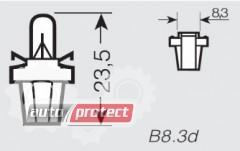 Фото 2 - Osram 2722 MF8 12V 2W B8.3d Автолампа подсветки приборов с патроном для установки в печатную плату