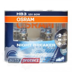 Фото 1 - Osram Night breaker plus 9005 HB3 12V 60W Автолампа галогенная, 2шт