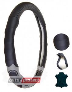 Фото 1 - Vitol Чехол для руля кожаный VLA312 BK, чёрный/синяя нитка