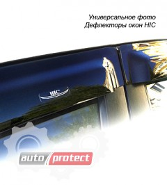 Фото 1 - HIC Дефлекторы окон  Mitsubishi Lancer 10 2007 ->, Хетчбек-> на скотч, черные 4шт